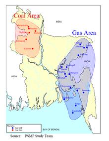 Mapa de Bangladesh, ilustrando depósitos de carvão e gás