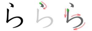 Ra (kana) - Stroke order in writing ら