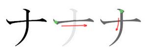 Na (kana) - Stroke order in writing ナ