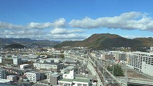 Yamagata Shinkansen - An aerial view showing the Yamagata Shinkansen diverging to the left from the Tohoku Shinkansen north of Fukushima Station