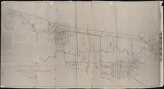 Houston riot of 1917 - Map of Buffalo Bayou area – Camp Logan Riots (circa 1917)