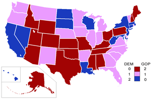 106th United States Congress - Political affiliations of senators by state: red indicates two Republicans; blue two Democrats; purple one of each