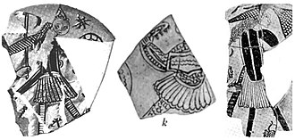 Fustanella - Sgraffito pottery fragments from the 12th century showing Greek warriors wearing the fustanella, from Corinth, Greece.