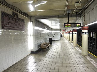 137th Street–City College (IRT Broadway–Seventh Avenue Line) - South-bound platform