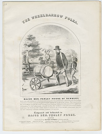 Benjamin Perley Poore - Wheelbarrow Polka, composed in honor of Poore's post-election, 36-mile walk with barrel of apples, to Tremont House in Boston, 1856 (Cornell University)