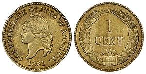 Confederate States dollar - 1861 1C Original Confederate Cent