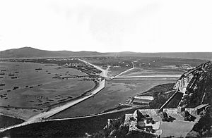 Inundation, Gibraltar - The Inundation seen from the Upper Lines, 1870s