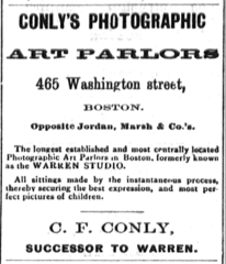 1884 C F Conly photographer advert Boston USA.png