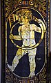 1911 Goldmosaikbogen von Richard Schlösser, Neues Rathaus Hannover, Detail 001b nackter Knabe mit Horn musizierend, Künstlersignatur und Jahresdatum.jpg