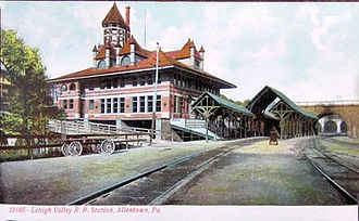 Lehigh Line (Norfolk Southern) - The Lehigh Valley Railroad station. Until the 1950s, the Lehigh Valley Railroad offered 2 hour and 15 minute direct train service to Pennsylvania Station in New York City.