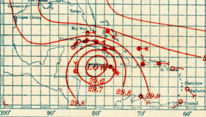 Map showing isobars associated with the hurricane near Jamaica