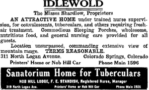 Tuberculosis treatment in Colorado Springs - Idlewold and Nob Hill Lodge advertisements in 1916.