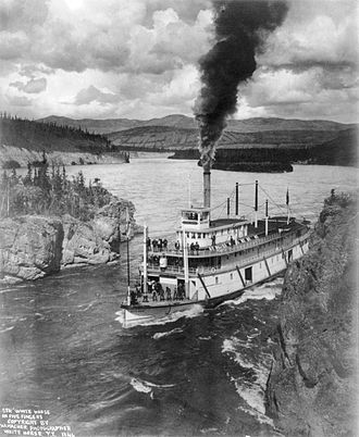 Steamboats of the Yukon River - Steamer White Horse in Five Finger Rapids, Yukon