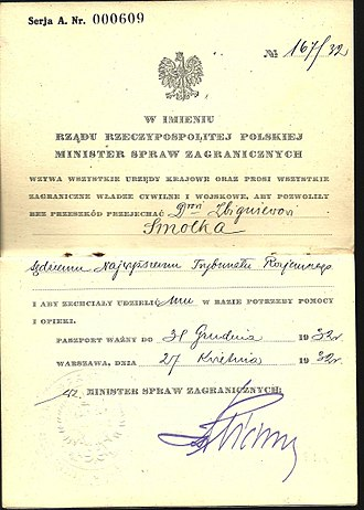 Polish passport - 1932 Official Polish passport issued by the Foreign Ministry in Warsaw.