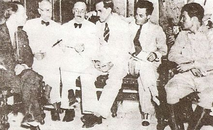 The Pentarchy of 1933. Fulgencio Batista, who controlled the armed forces, appears at far right 1933-Pentarchy w Batista.jpg
