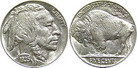 The 1935 buffalo nickel – this style of coin featuring an American bison was produced from 1913 to 1938.