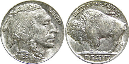 The 1935 Buffalo nickel--this style of coin featuring an American bison was produced from 1913 to 1938 1935 Indian Head Buffalo Nickel.jpg