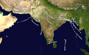 1961 North Indian Ocean cyclone season - Image: 1961 North Indian Ocean cyclone season summary map