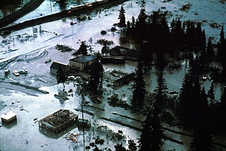 Portage, Anchorage - Portage just after the quake, the destruction and flooding clearly visible