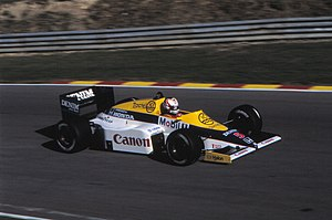 Williams FW10 - Image: 1985 European GP Nigel Mansell 01