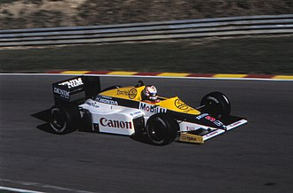 1985 European Grand Prix - Nigel Mansell, driving for Williams, took his first Formula One victory.
