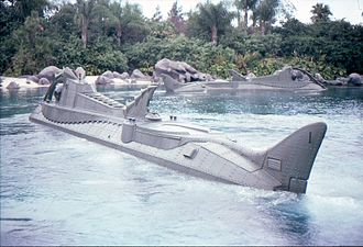 """20,000 Leagues Under the Sea: Submarine Voyage - """"Submarines"""" of the 20,000 Leagues ride, in 1979."""