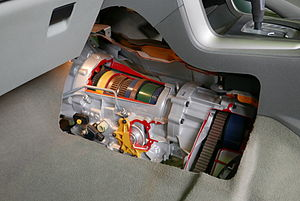 Automatic transmission - Cutaway showing the typical positioning of an automatic transmission from the interior of an automobile