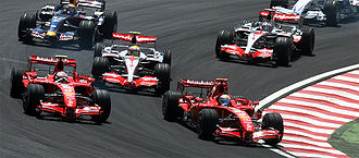 2007 Brazilian Grand Prix - The Ferrari drivers took the lead from the McLarens at the start of the race.