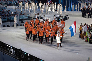 Netherlands at the 2010 Winter Olympics - The athletes entering the stadium during the opening ceremonies.