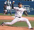 20130407 Yuuki Shichijo, pitcher of the Tokyo Yakult Swallows, at Meiji Jingu Stadium.JPG