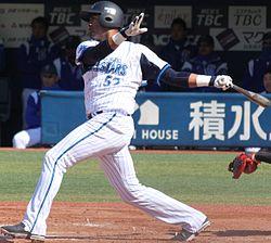 20140308 Aarom Wilfred Baldiris Pérez, infielder of the Yokohama DeNA BayStars, at Yokohama Stadium.JPG