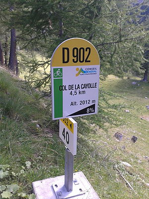 Col de la Cayolle - One of the mountain pass cycling milestones at the climb from Barcelonette