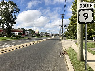 Northfield, New Jersey - U.S. Route 9 southbound in Northfield