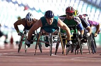 Australia at the 2000 Summer Paralympics - 211000 - Athletics wheelchair racing 10km heat John Maclean action 2 - 3b - 2000 Sydney race photo