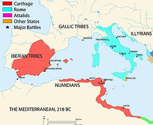 A map of the western Mediterranean showing territory controlled by Carthage and Rome in 218 BC