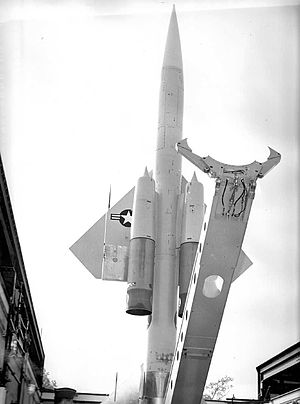 22d Air Defense Missile Squadron - A 1965 photo of a squadron BOMARC missile elevated in its shelter