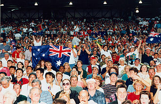 1996 Summer Paralympics - A group of Australian supporters at the opening ceremony of the 1996 Atlanta Paralympic Games