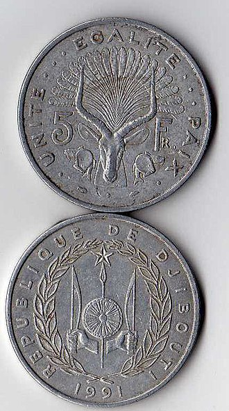 Djiboutian franc - Image: 5 djiboutian francs