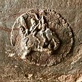 6th century Indra and Indrani on elephant, Badami Hindu cave temple Karnataka.jpg