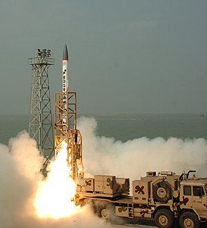 Indian Ballistic Missile Defence Programme - Advanced Air Defence (AAD) missile being launched during Electronic Target Trials on 2 December 2007 from Abdul Kalam island (Wheeler Island) Test Range in Odisha.