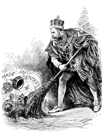 """A good riddance"" A 1917 Punch cartoon depicts King George sweeping away his German titles. A Good Riddance - George V of the United Kingdom cartoon in Punch, 1917.png"