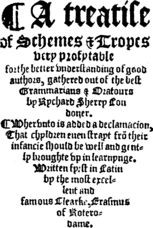 Richard Sherry - Title page of A Treatise of Schemes and Tropes by Richard Sherry