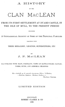 A history of the clan MacLean from its first settlement at Duard Castle (1889) title page.png
