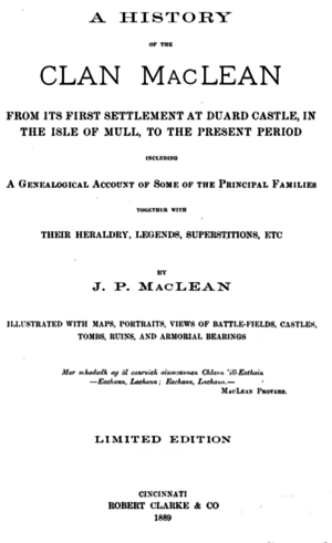 John Patterson MacLean - Image: A history of the clan Mac Lean from its first settlement at Duard Castle (1889) title page