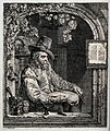 A learned man seated in an arched window, with alchemical in Wellcome V0025555.jpg