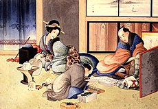 """A merchant making up the account"" by Shiatsus Hokusai"
