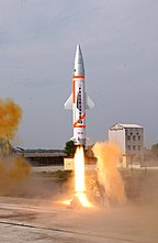 A modified Prithvi missile as the enemy target lifting off from the integrated test range at Chandipur-on-sea for the advanced air defence missile test on December 06, 2007.jpg