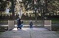 A mother her child, and an egyptian goose, Campo Grande Garden, Lisbon, Portugal (PPL1-Corrected) julesvernex2.jpg