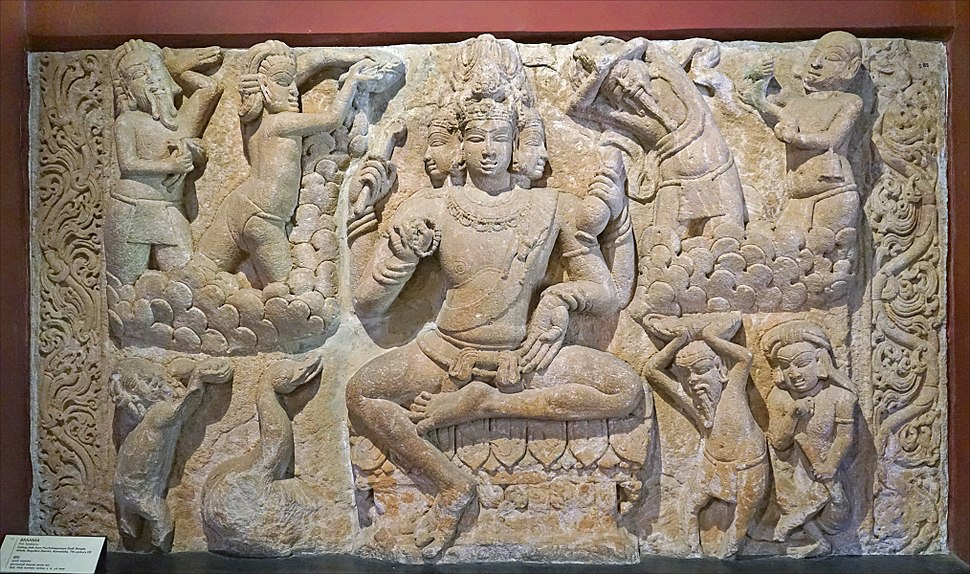 A sculpture of Brahma Hindu deity at Museum CSMVS Mumbai