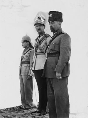Abdullah I of Jordan - Coronation of King Abdullah in Amman. Right to left: King Abdullah, Emir 'Abd al-Ilah (Regent of the Kingdom of Iraq), and Emir Naif (King Abdullah's youngest son), 25 May 1946.